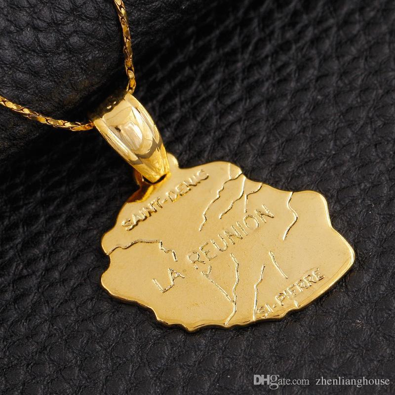 л Иль Де Ла Реюньон карта медь латунь кулон 18 карат позолоченные заявление подвески делая ожерелье висит ювелирные изделия специальный промоушен подарок