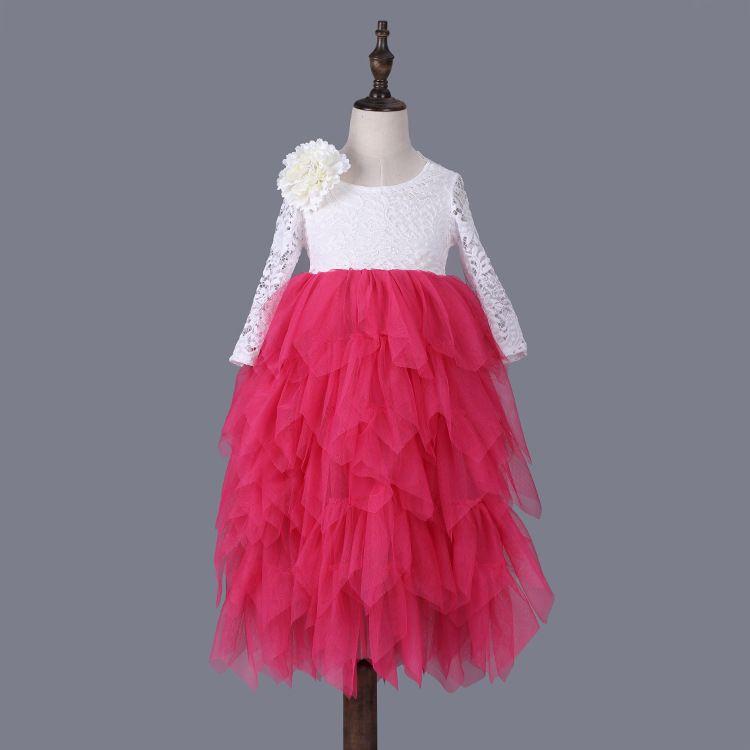 Kids Girls Lace Dresses 6colors Baby Girl Full Sleeve Tulle Dress 2017 Autumn Infant Princess Tutu Dress Children Wholesale Clothes B729
