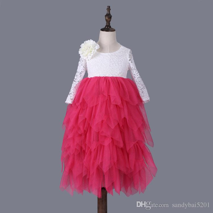 Kids Girls Lace Dresses Baby Girl Floral Embroidery Long Dress Boutique Infant Princess Full Sleeve Tulle Tutu Dress for Wedding Party D261