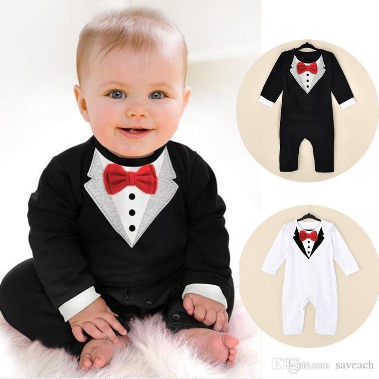 Compre Newborn Boy Baby Traje Formal Esmoquin Mameluco Jumpsuit Gentleman  Ropa Para Bebé Mameluco Mono A  7.42 Del Saveach  92128a9c545