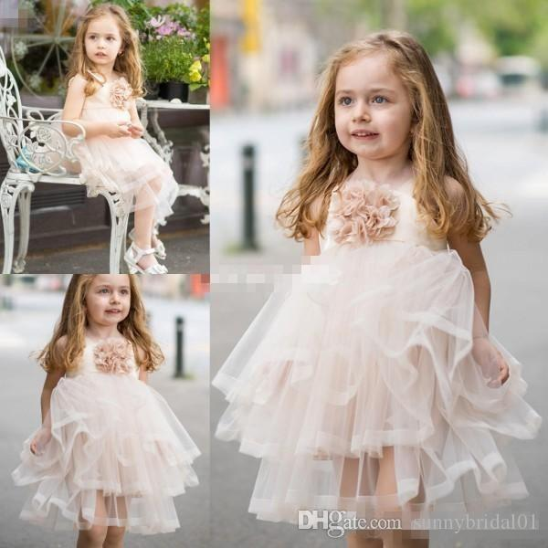 Pale Pink Handmade Flower Girl Dresses Princess Tiered Skirt Knee