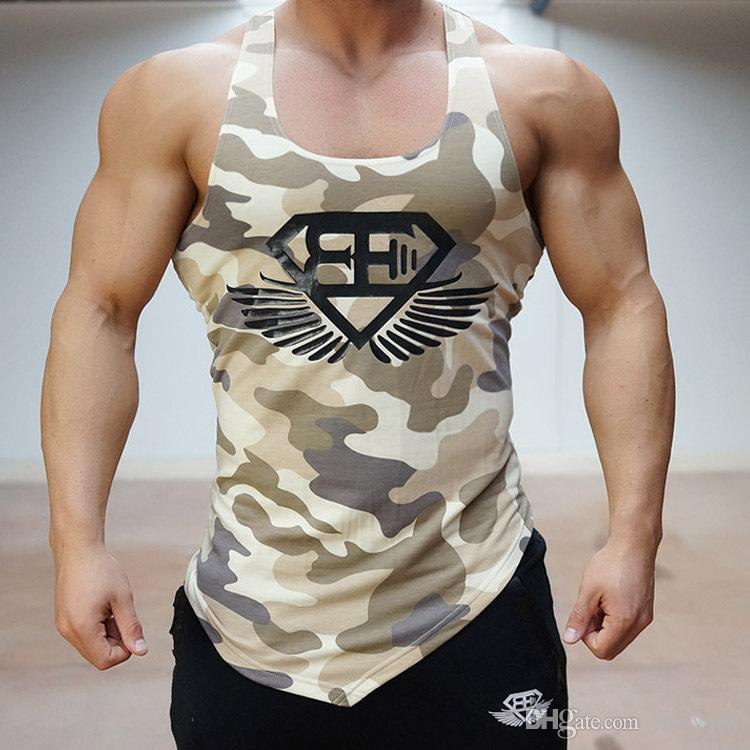 Großhandel Fitness Männer Gym Tank Top Armee Camo Camouflage Herren ...