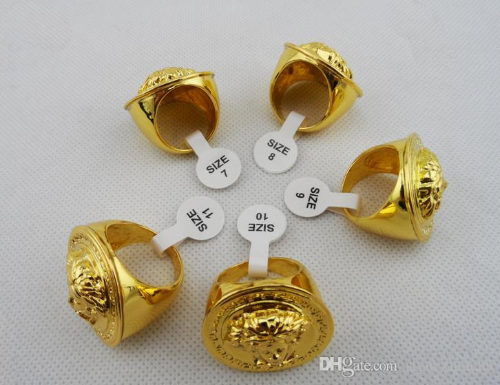 2015 New Hip Hop Medusha Ring With Corn Chain 24K Gold Plated,hign quality and