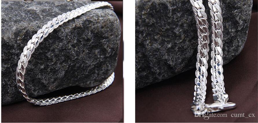 Os Recém-chegados Mulheres 6 MM Completa Sideways Colar de Prata de Prata Esterlina 925 Moda Jóias Mulheres Homens Colar de Corrente de Ligação