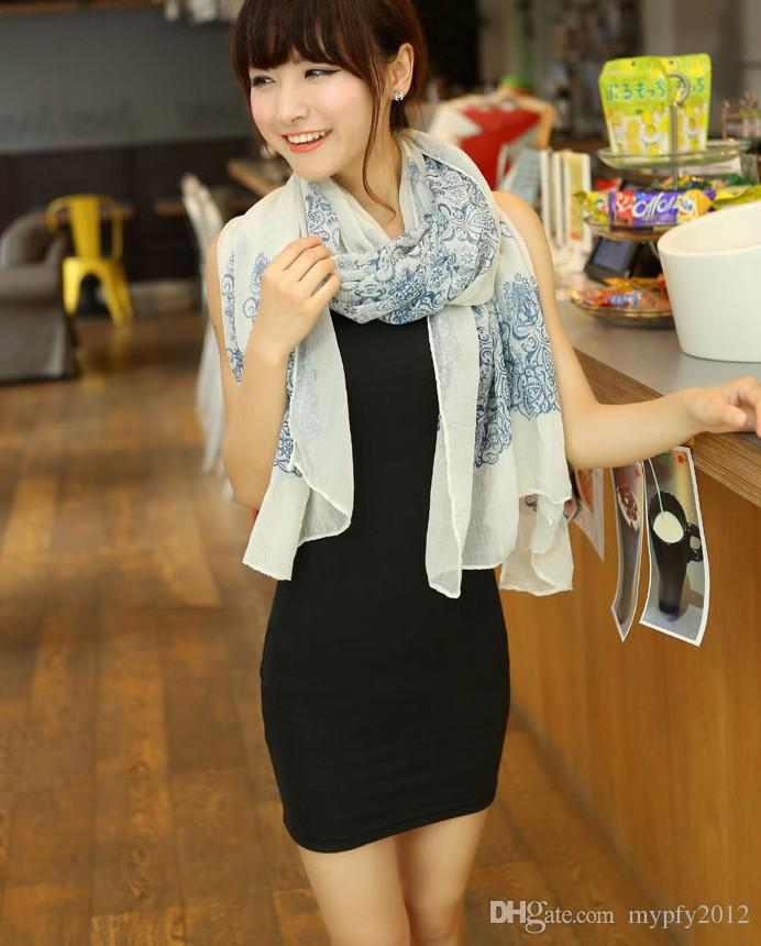 160 * 60cm di alta qualità blu e bianco stile porcellana sottile sezione lo scialle di chiffon di seta donne filo interdentale sciarpa
