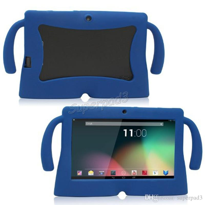 DHL Kids Soft Silicone Rubber Gel Big Cute Ears Tablet PC Case For 7 Inch Q88 Anti-dust Drop Resistant Protective Cover