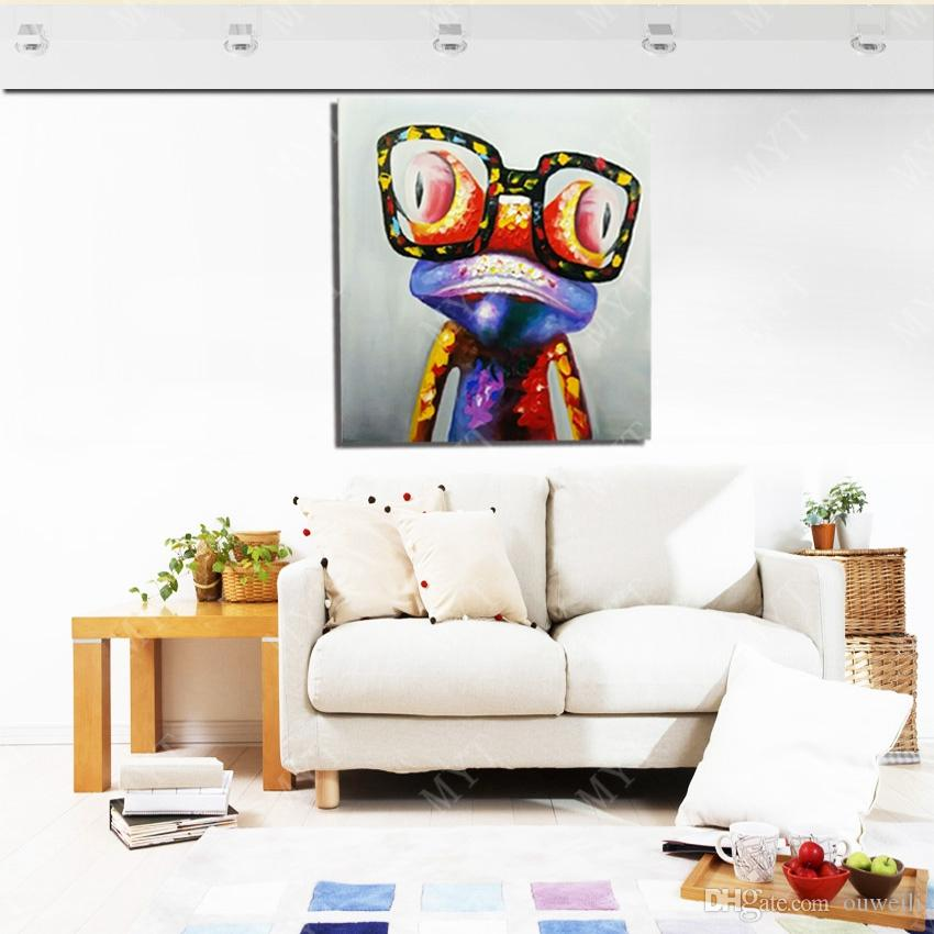 100% Hand Made Modern Living Room Wall Hanging Decoration Wholesale Cheap Price Promotional Abstract Animal Oil Painting Picture