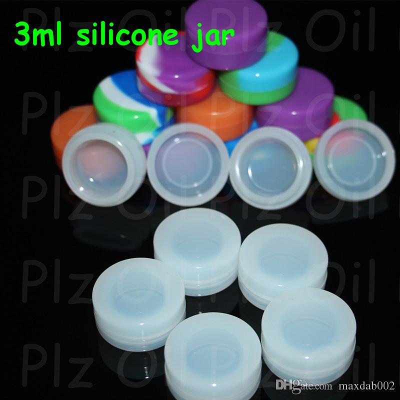 Atacado 3 ml 5 ml 7 ml Não-stick Silicone Jar Dab Recipientes De Cera Para Frascos De Silicone De Cera Concentrado Caso 6 em 1 tubo de bongo de silicone de água