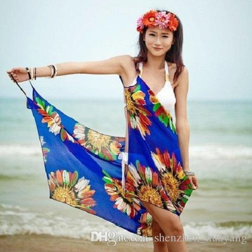 f58598711d 2019 Chiffon Pareo Dress Wrap Beach Swimwear Cover Up Beach Dress Beachwear  Swimwear Resort Dress Halter Beach Towel From Shenzhen huayang