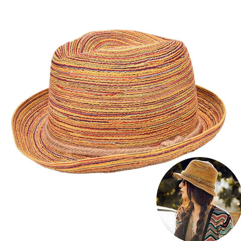 Wholesale Hot Sale Sombreros Women Colorful Straw Sunhats Summer Jazz Hat  Beach Hats Gifts For Women Wholesale Trilby Hats Hat Store From Naixing e46149d91eb
