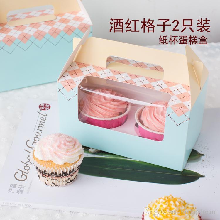 Оптовая продажа для 2 чашки торт коробки с оконной ручкой,16.5*9.3*9 см розовый/синий 5 стили торт коробка небольшой кекс подарочная коробка 100 шт./лот бесплатная доставка