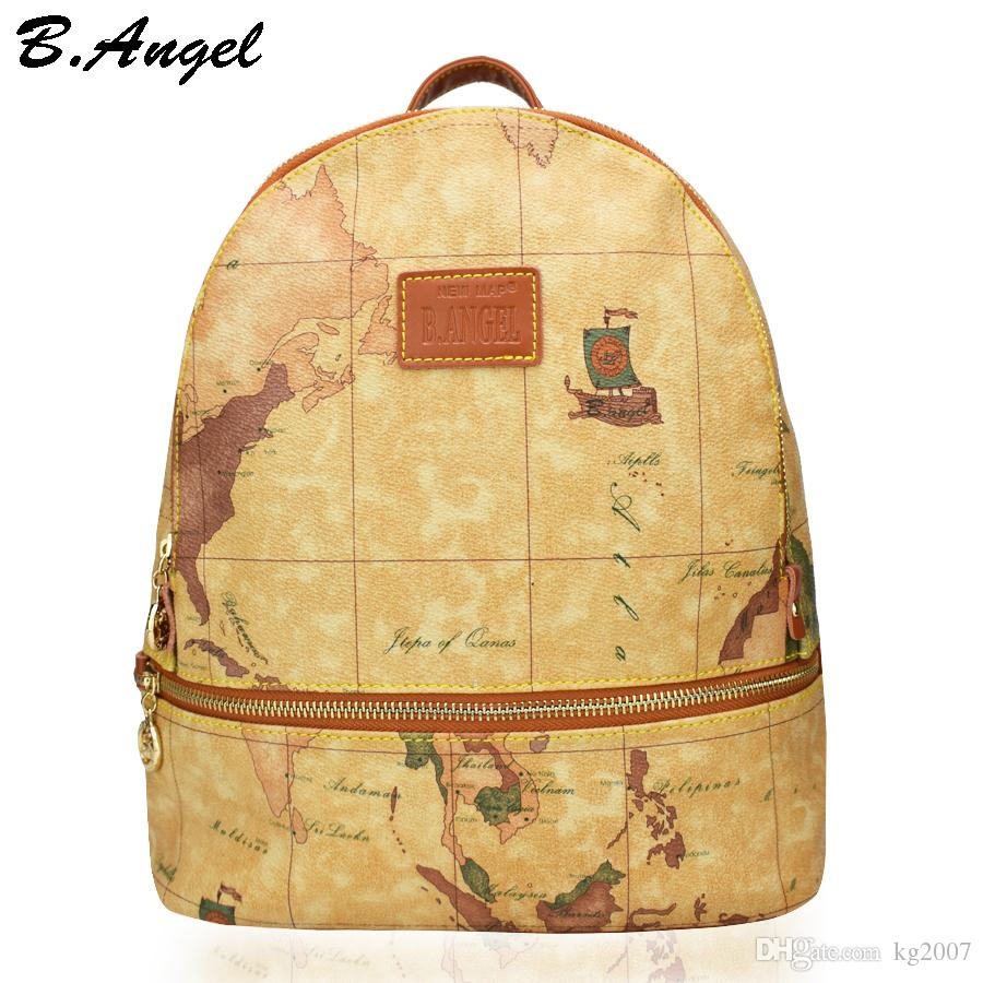 High quality world map backpack retro men and women leather high quality world map backpack retro men and women leather backpack brand design school backpack fashion printing backpack hc z 6705 backpack school gumiabroncs Gallery