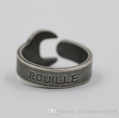Rouille Wrench Ring Vintage Metal Finger Rings Spanner Pattern