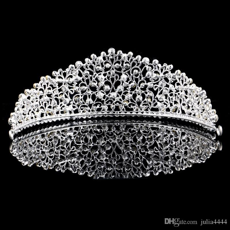 Wunderschöne funkelnde Silber große Hochzeit Diamante Pageant Tiaras Haarband Crystal Bridal Crowns für Bräute Prom Pageant Haarschmuck Kopfschmuck