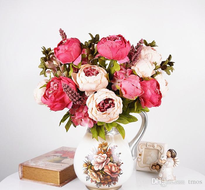 Цветок Старинные Благородный Большой Реальный Сенсорный Цветок Пион Букет Искусственное Дерево Пион Кусты Главная Журнальный Столик Офис Отель Магазин Украшения