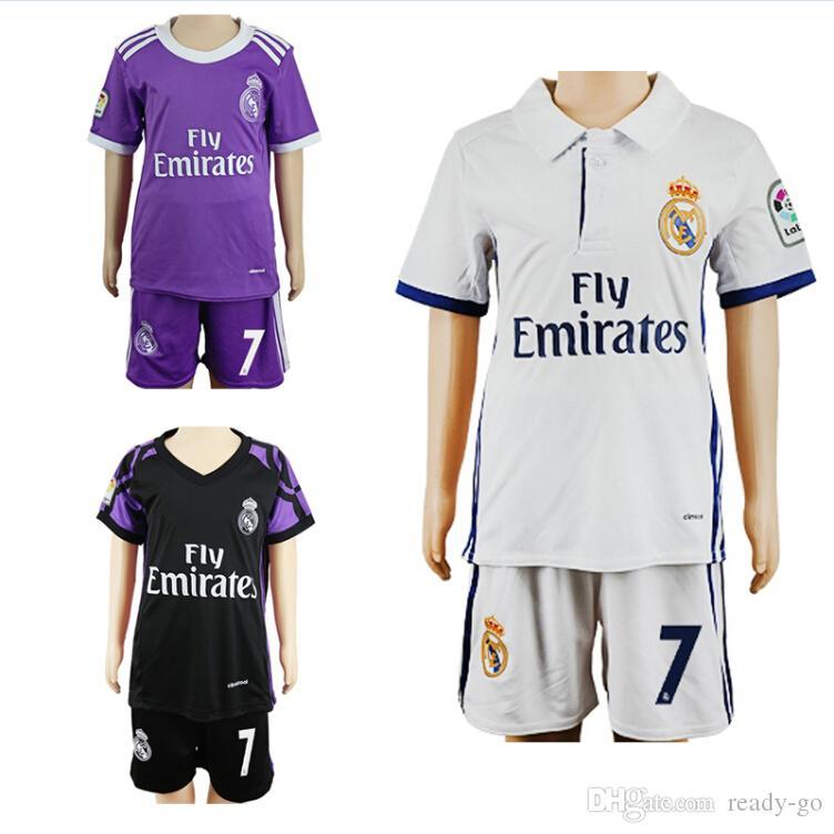 7852c225e 2019 16 17 Kids Real Madrid Soccer Jerseys Children Youth MCF Shirts Sets  Ronaldo Bale 2016 Kid Home Away Football Kits Soccer Uniforms Jersey From  Ready Go ...