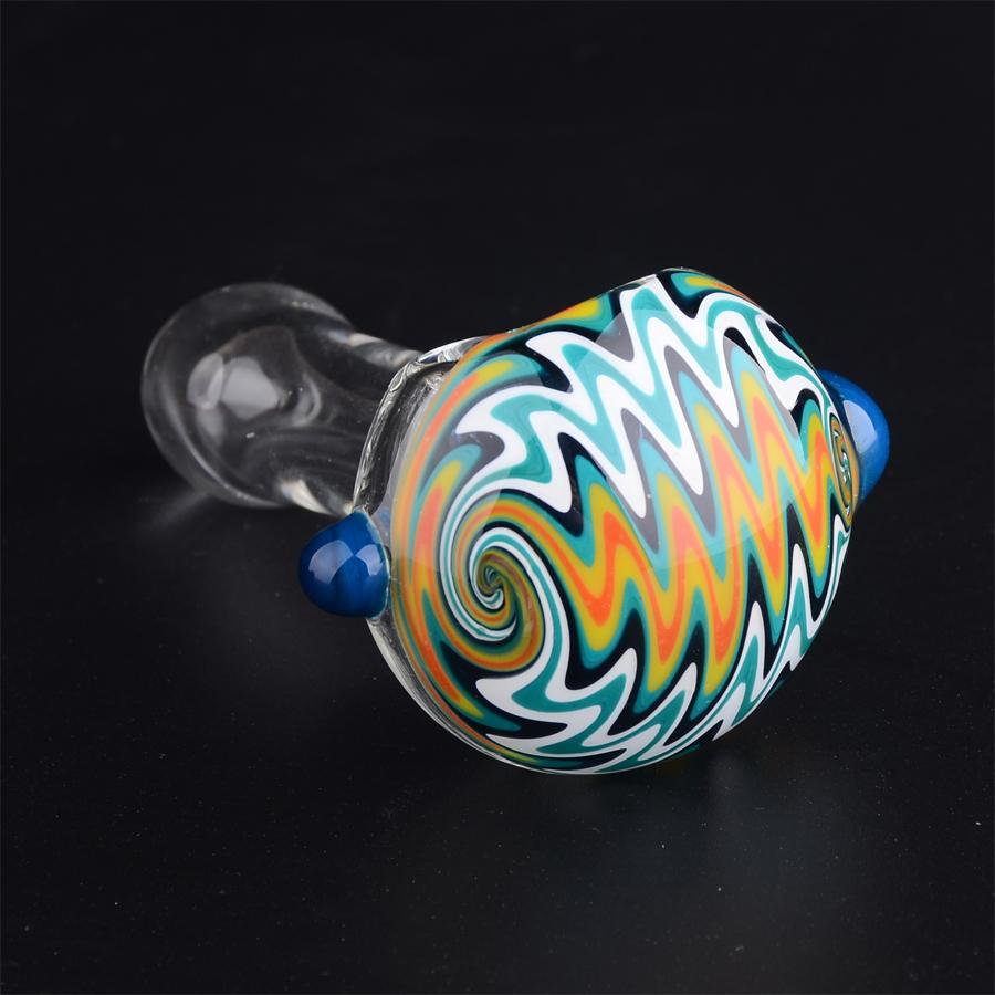 Wholesale 3.5in Reversal GLASS PIPE spoon tobacco pipes for Smoking Mini Hand Pipes Hammer Pipes T21