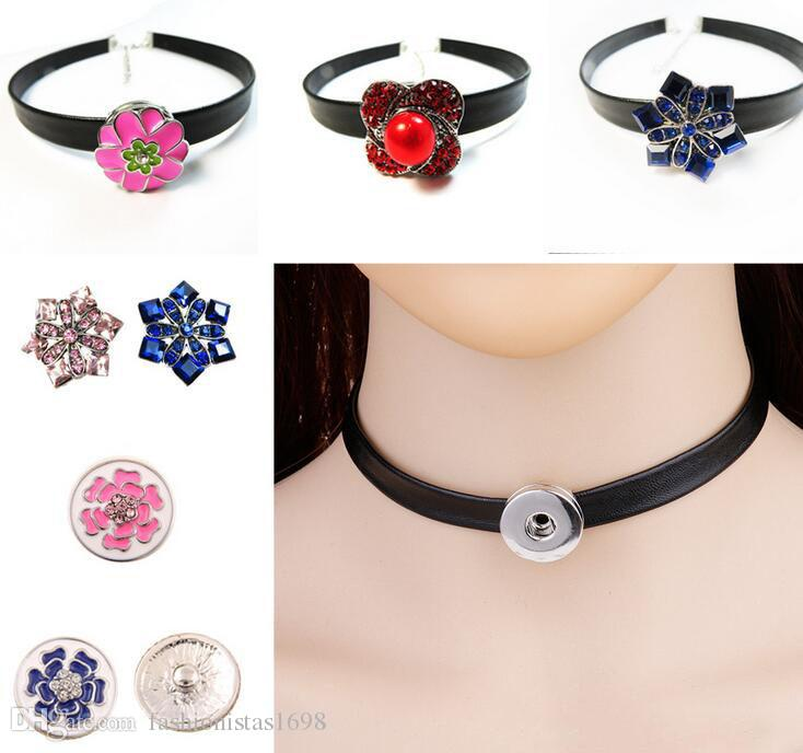 Hot Snaps Button Jewelry chokers suit DIY replaceable snaps button neck chain necklace +buttons necklace suit