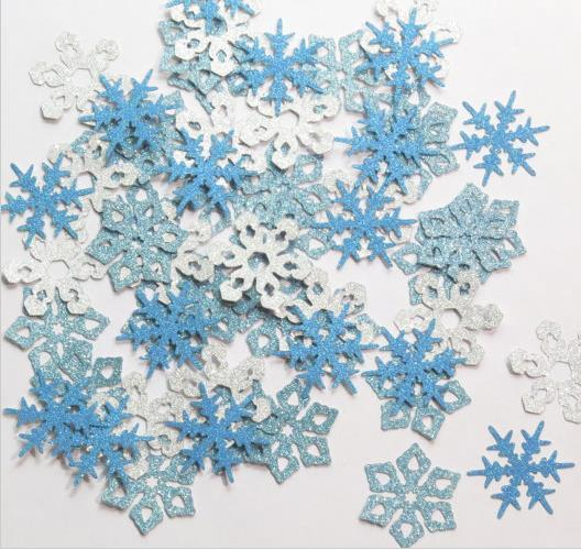 Custom Glitter Blue And Silver Snowflake Confettis Wedding Table