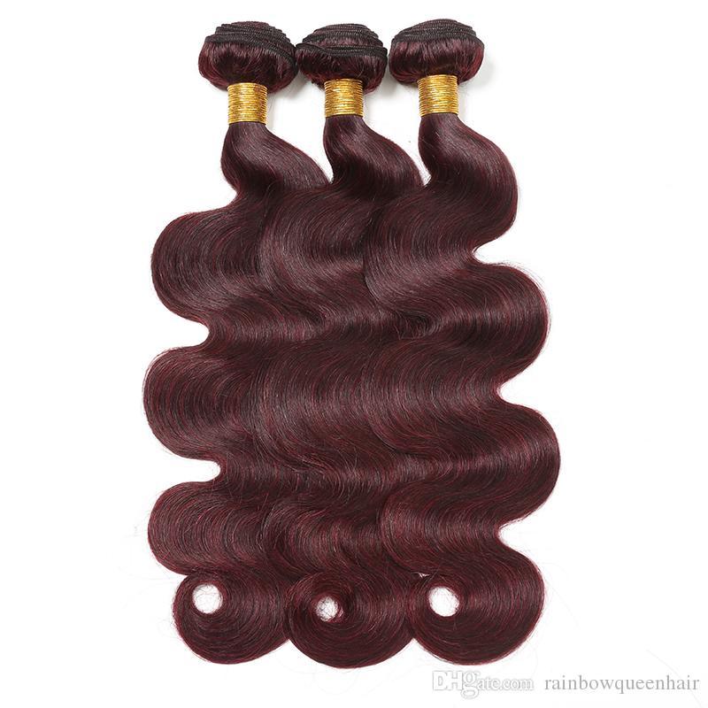 8A 99J Peruvian Body Wave Virgin Hair 3 Bundles Wine Red Peruvian Malaysian Human Hair Weaves Hair Dyeable Burgundy Color Rainbow Queen