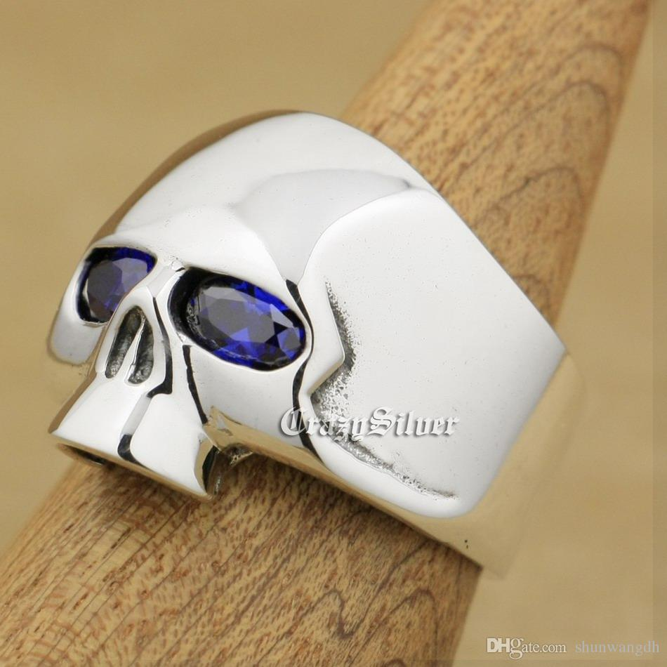Tanzanite CZ Eyes 925 Sterling Silver Skull Mens Biker Rocker Punk Ring 9G303 US Size 7 ~ 15