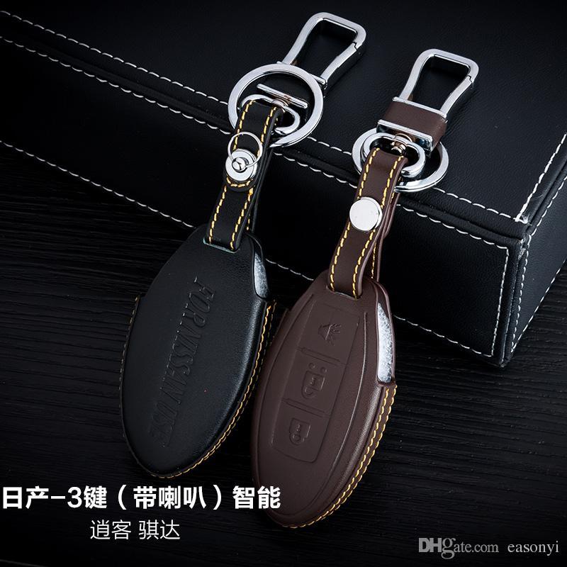 100% Genuine Leather Car Key Case Cover 3 Buttons Smart For Nissan 2015 Tiida /QASHQA Car Key Holder Bag Keychain Car Key Accessories