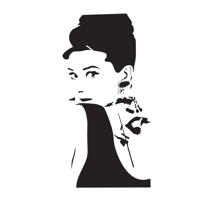 Art Deco Wall Decor :Classic Actress Audrey Hepburn Wall Dessert Sticker  Vinyl Decal Dining Table Home Decoration Wall Art Roommates Stickers Self  Adhesive ... Part 62