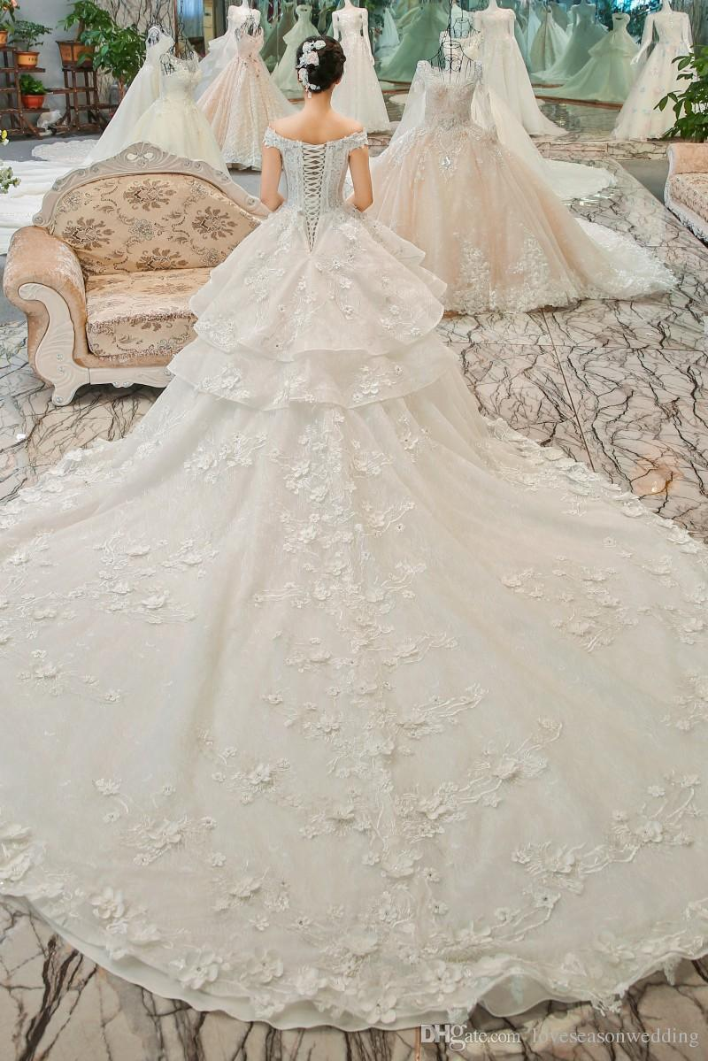 b7d76c28a8995 ... LSGT901 off shoulder peplum flower pattern wedding gowns lace up back  cathedral train imperial ivory lace ...