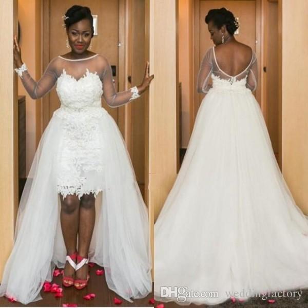 Populära land bröllopsklänningar med avtagbar tulle kjol Sheer Bateau nacke illusion långa ärmar öppna bakre afrikanska brudklänningar