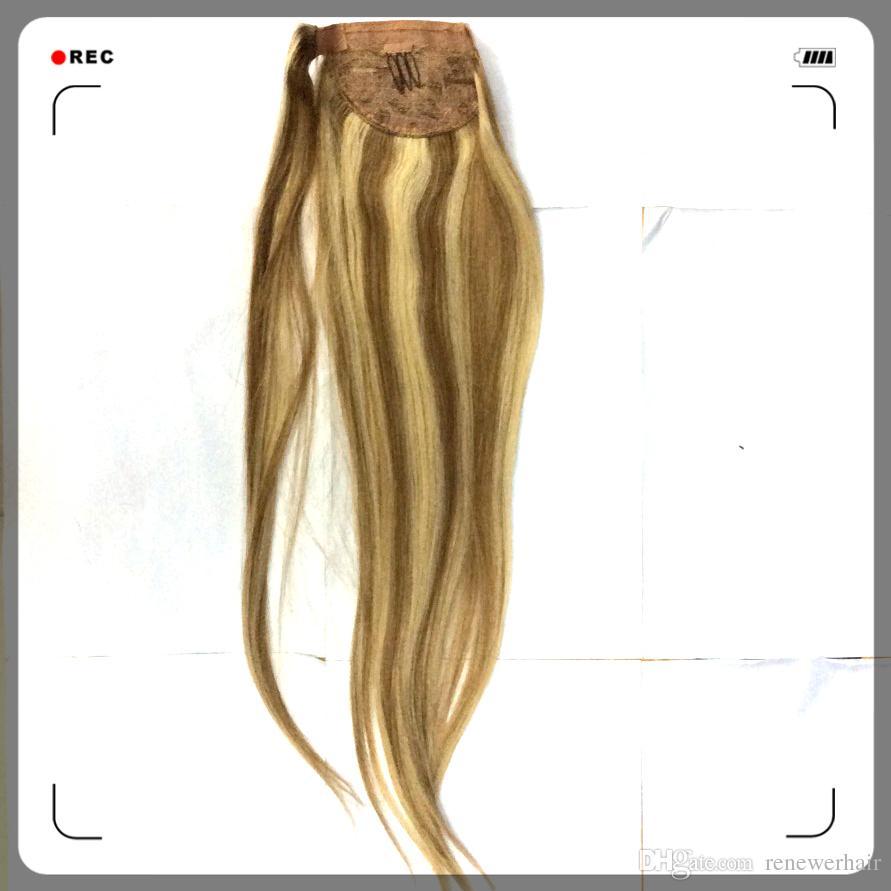 Indian Clip In Ponytail Hairpiece Wrap Around Ponytail Hair