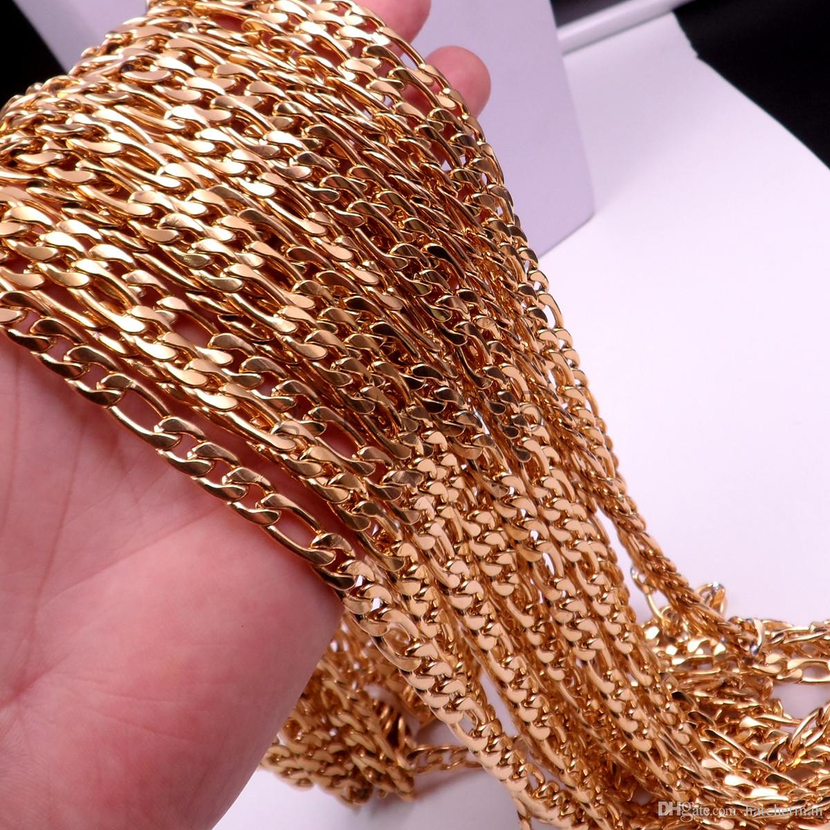 7mm chaîne de Figaro hommes en acier inoxydable collier en or 18in-40inch charme de bijoux