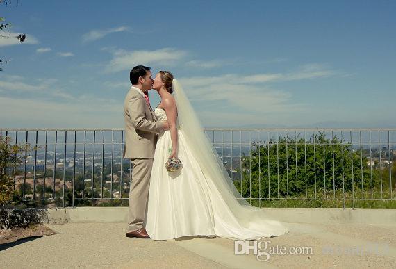Moda quente em estoque de alta qualidade uma camada de camada capela comprimento marfim branco champanhe véu véu de noiva véu acessórios com pente