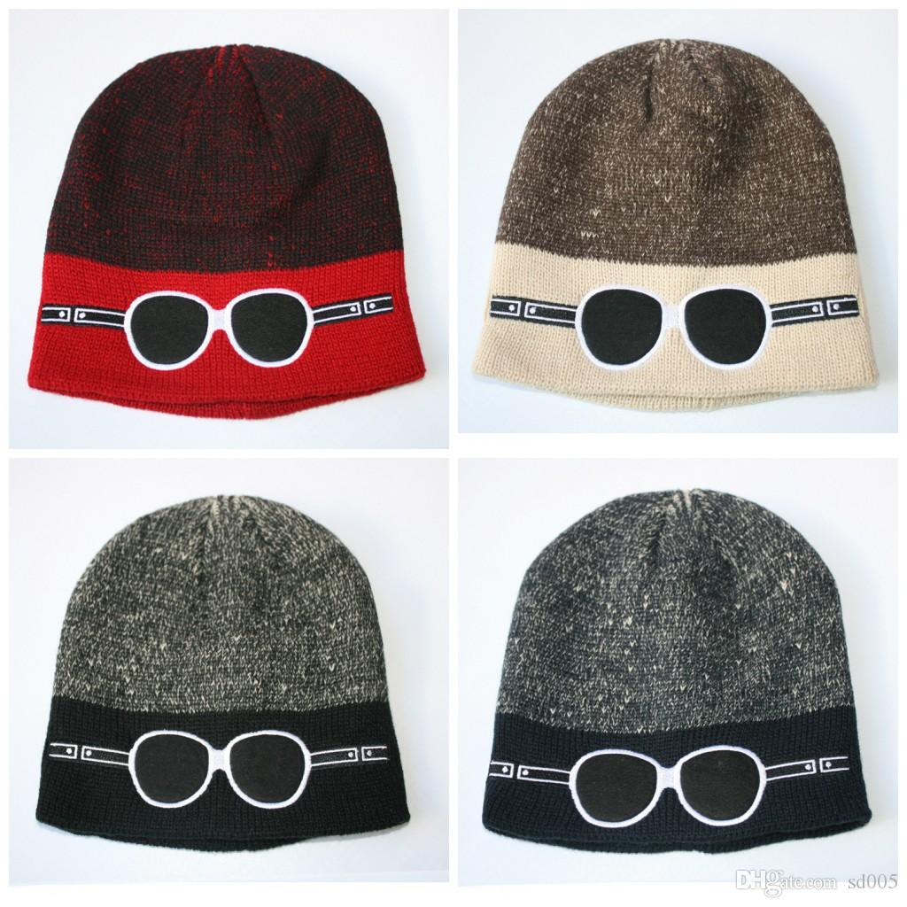 Casual Hip Hop Cap Cartoon Glasses Pattern Knitted Hat Plain Weave ...
