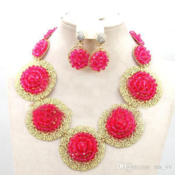 ensembles de bijoux africains couleur fushia dubai or bijoux ensemble 18k gp match à la main pour fushia nigerian aso oke tête wrap
