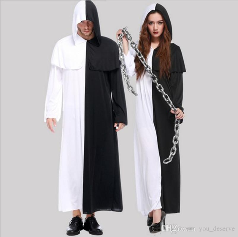 New Black And White Impermanence Ghost Is Poor Robe Cosplay Halloween Costumes Men And Women Sweethearts Outfit Club Performance Clothing Kids Costume ...  sc 1 st  DHgate.com & New Black And White Impermanence Ghost Is Poor Robe Cosplay ...