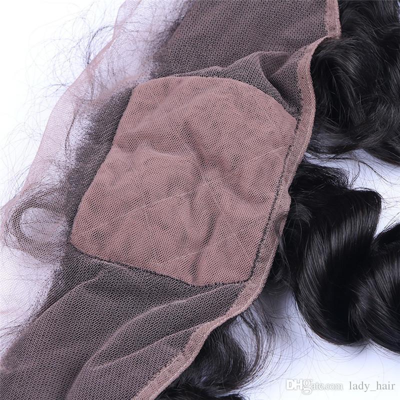 Freies mittleres 3-way Teil-Jungfrau-Inder-Menschenhaar-4x4 Silk Basis-Spitze-Frontalverschluss-lose Wellen-Silk Spitzenspitze Frontal Stücke gebleichte Knoten