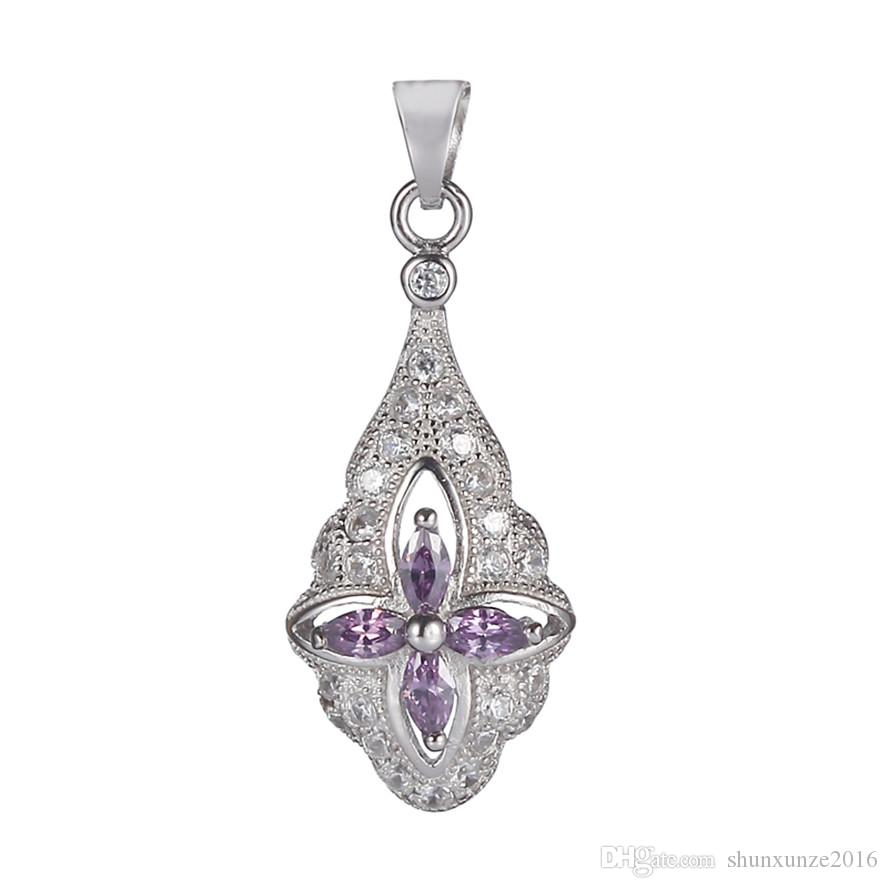 925 sterling silver Trendy heart set ring/earring/pendant Noble Generous S-ssz#6 7 8 9 Light purple Cubic Zirconia The new listing