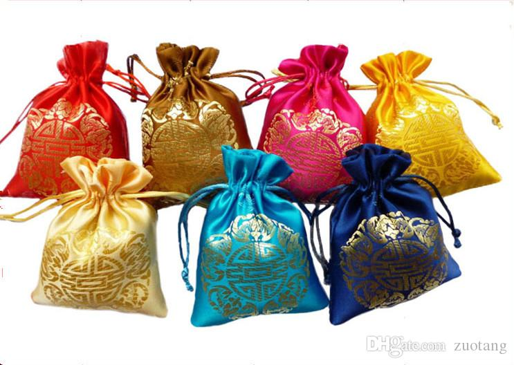 Cheap Small Silk Drawstring Gift Bags Wedding Chocolate Candy Bag Christmas Birthday Party Favor Bags Chinese Joyous Empty Sachet Pouch