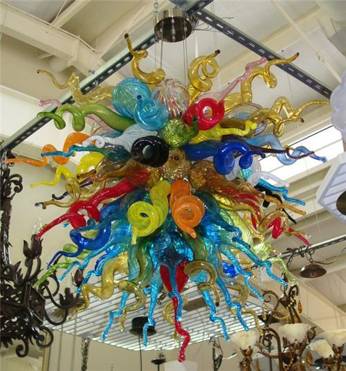Wholesale Multi Color Blown Murano Glass Chandeliers Hanging LED Decorative Customized Colorful Pendant Lamps for Home Decoration