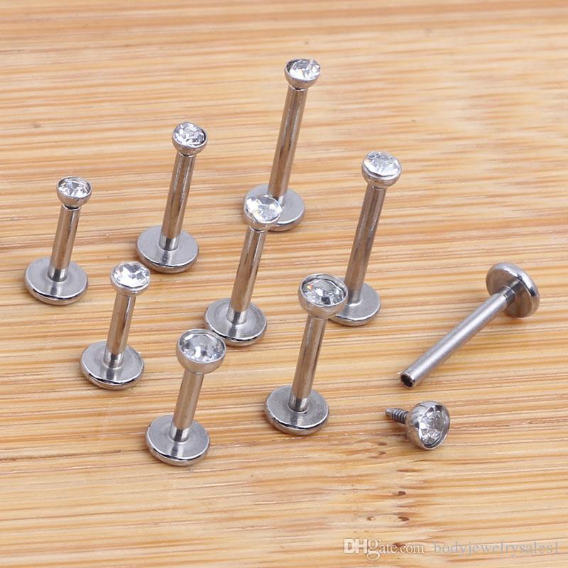 믹스 6 / 8 / 10mm wholesales / 패션 스테인레스 스틸 내부 스레드 입술 피어싱 Labret 링 바디 쥬얼리 Tragus Bar
