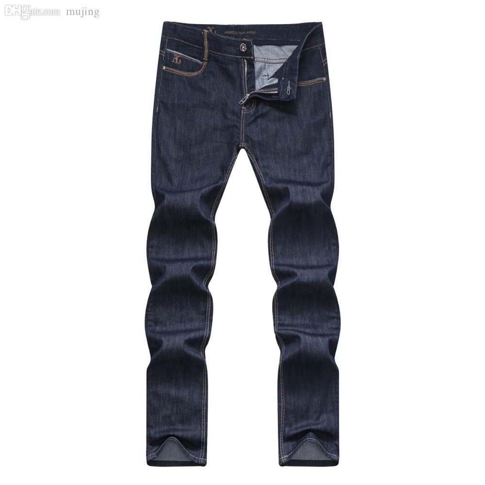65210a39d0144 Compre Al Por Mayor Jeans Angelo Galasso Mens Jean Moda 2016 Nuevo Modelo  Agradable Estilo De Compras Color Sólido Tela Caballero Fino Envío Gratis A  ...