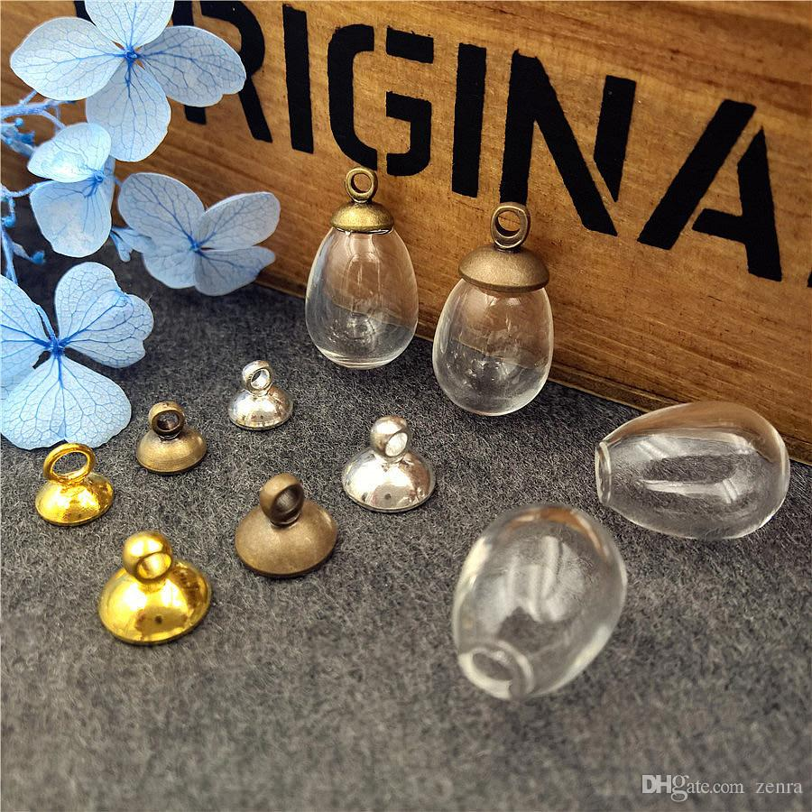 14.5*11mm drop empty glass globe bottle with cap set glass vial pendant charms glass dome cover Christmas Decoration jewelry