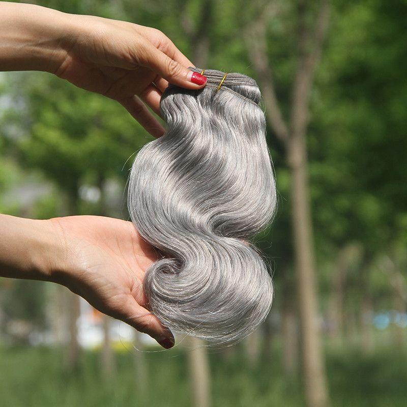 브라질 바디 웨이브 헤어 번들 100g 회색 인간의 머리카락 7A 실버 그레이 헤어 익스텐션