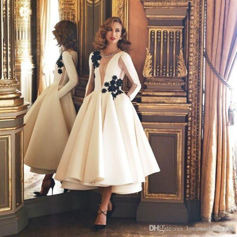 Exquisite Ivory/White A Line Evening Dresses 2018 Jewel Neck Long Sleeves Black Flower Tea Length Formal Gowns Homecoming Party