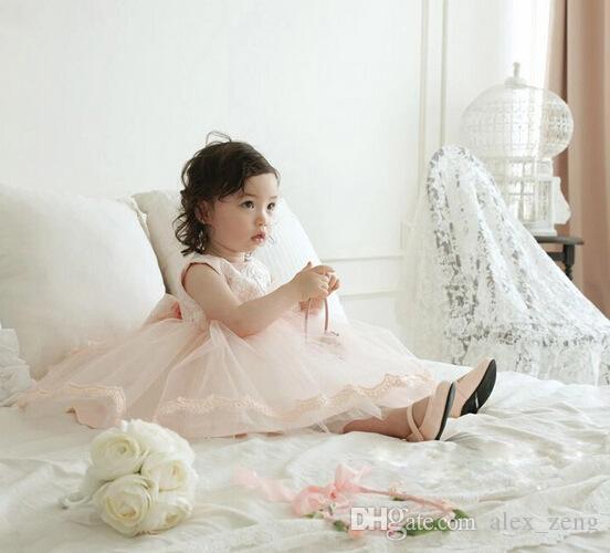 Fille élégante robe Filles 2016 Summer Fashion Rose Lace Bow Big Party Tulle robes de mariée princesse bébé fille robe