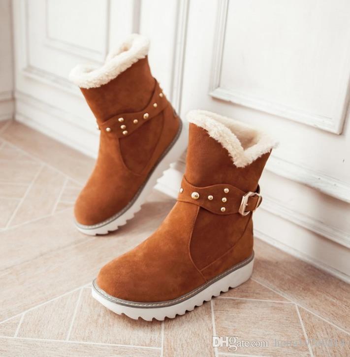 Cálido de piel sintética a prueba de agua botas para la nieve de las mujeres de moda de invierno botines tamaño grande negro marrón color beige dropshipping