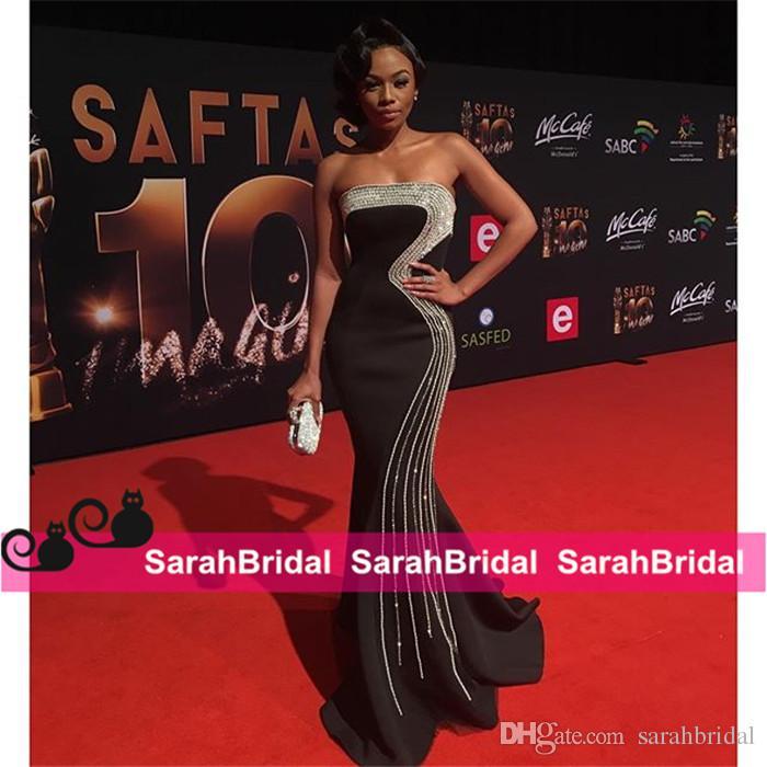Classique perles Robes de bal Bonang Matheba sud-africaine TV Déclaration d'accueil Pageant Celebrity Robes de soirée pour les femmes