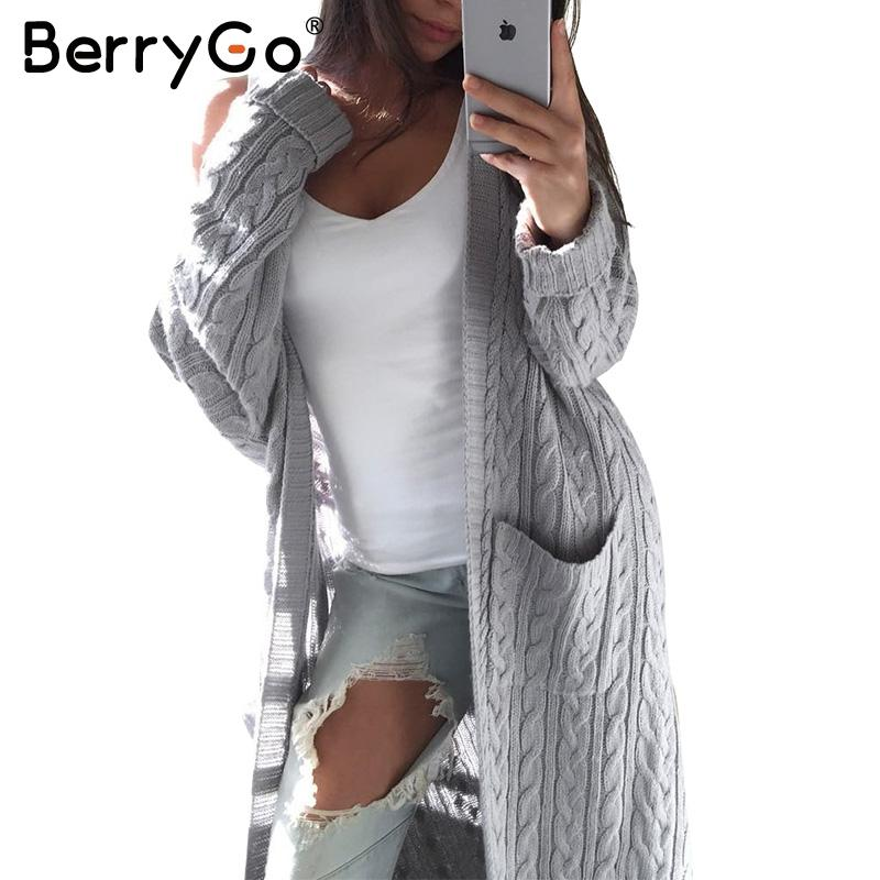 2018 Berrygo Long Sleeve Warm Cardigan Female Knitting Long ...