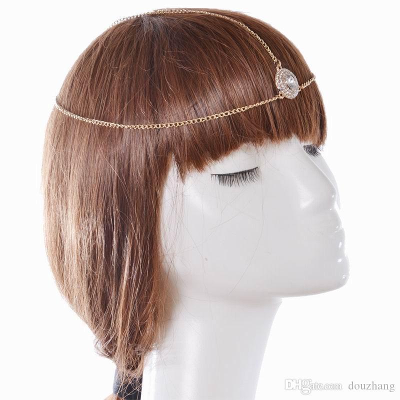 Hot Gold Plated Head Chain Hair Jewelry Rhinestone Crystal Round Forehead Hair Accesories Boho Headband