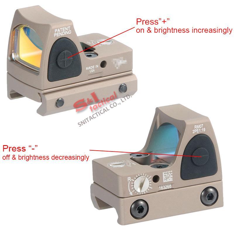 Tactical RMR Red Dot Reflex Sight Ajustable LED 3.25 MOA Red Dot con control lateral del botón Orange / Black / Gray / Dark Earth